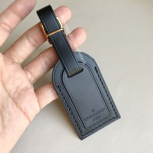 Authentic LOUIS VUITTON Black Leather Luggage Tag